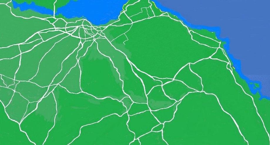 MAP OF EDINBURGH LOTHIAN AND SCOTTISH BORDERS