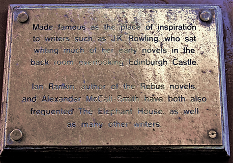 Plaque @ Elepant House where JK Rowling wrote about Harry Potter