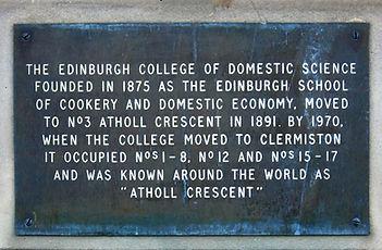 Atholl Crescent Cookery College Edinburg