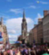 View of Tron Kirk and High Street Royal Mile Edinburgh