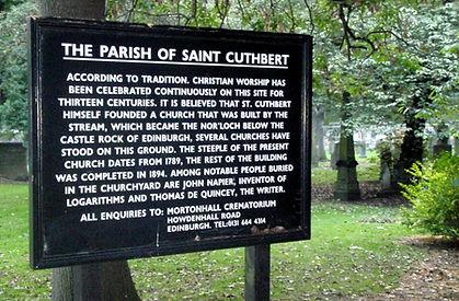 St Cuthbert's Grave Sign Edinburgh