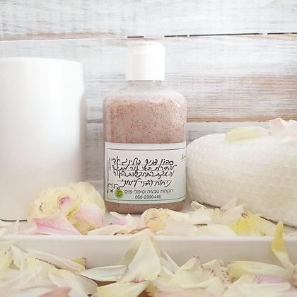 סבון פנים פילינג גרגירים עדין לניקוי עמוק והתחדשות עור הפנים בניחוח הדרי לימוני