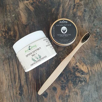 קרם פנים לאחר גילוח +דאודורנט צמחים+מברשת שיניים במבוק
