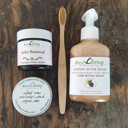 סבון פנים+קרם לחות+משחה טיפולית לרגליים וידיים יבשות+מברשת שינים במבוק