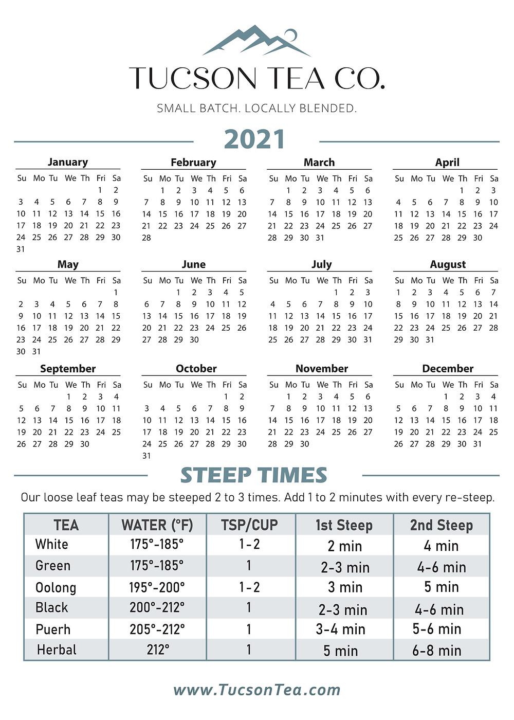 Tucson Tea Company Steeping Times Chart and Calendar