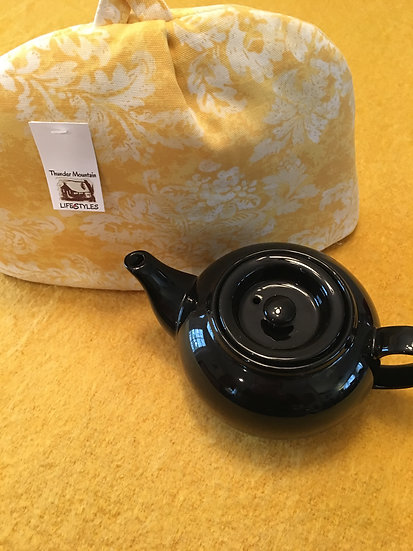 Tea Cozie - Yellow with white floral Large