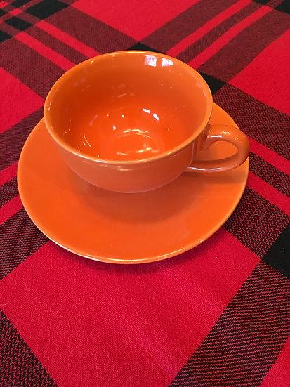 Orange Teacup and Saucer - 6 oz