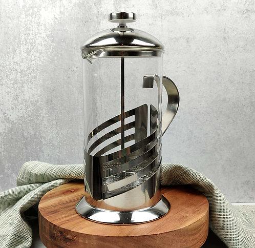 Art Deco Style Design French Press, 3 cups (24 oz), All Chrome