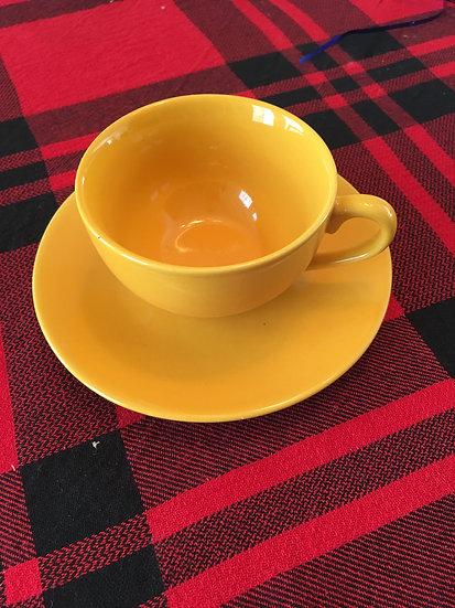 Yellow-Gold Teacup and Saucer - 6 oz