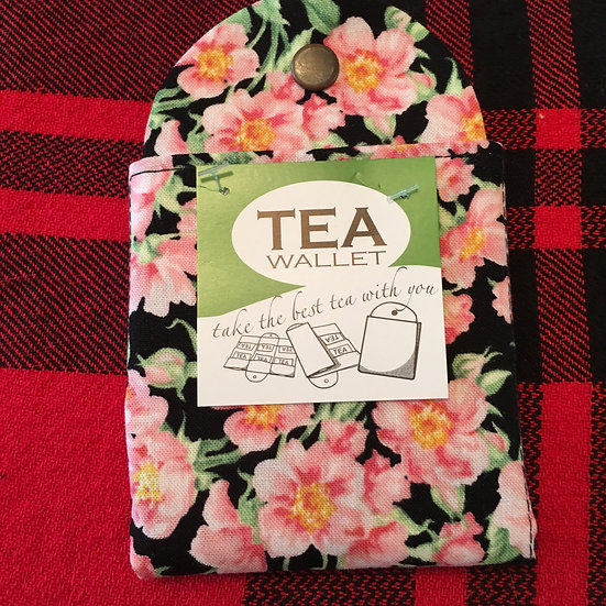 Pink and Black Floral Tea Wallet