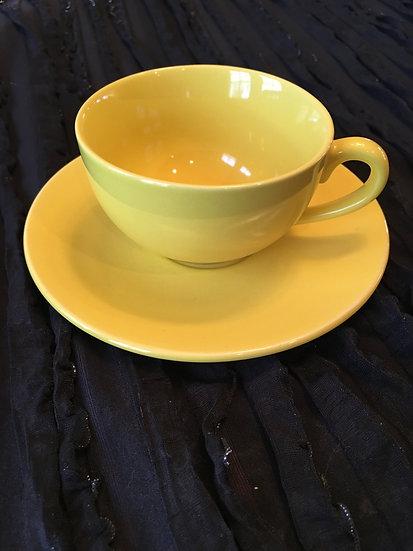 Lemon Yellow Teacup and Saucer - 6 oz