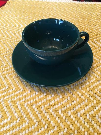 Hunter Green Teacup and Saucer - 6 oz