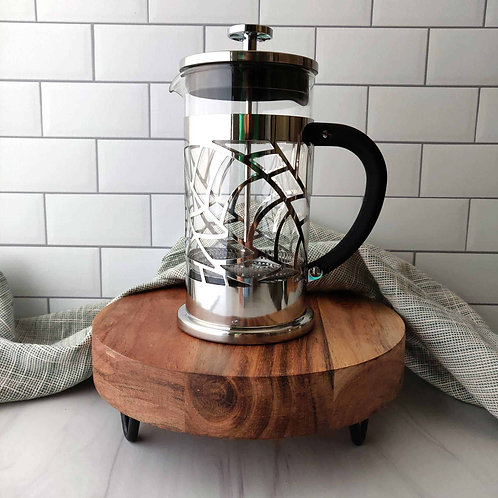Leaf Design French Press, 2.5 cups (20 oz), chrome