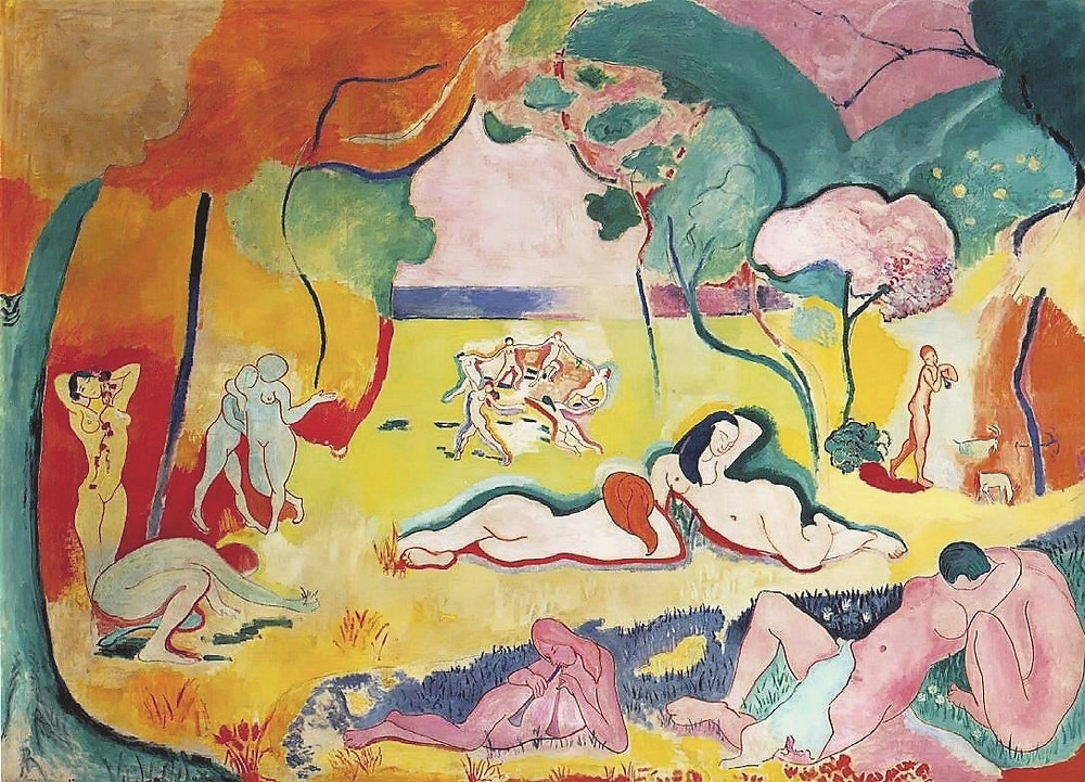 Oil on canvas, 176.5 x 240.7 cm (69 1/2 x 94 3/4 in.). In the collection of the Barnes Foundation. Henri Matisse - Image URL:http://www.artchive.com/artchive/m/matisse/bonheur.jpg See too The Barnes Foundation 2014 photograph