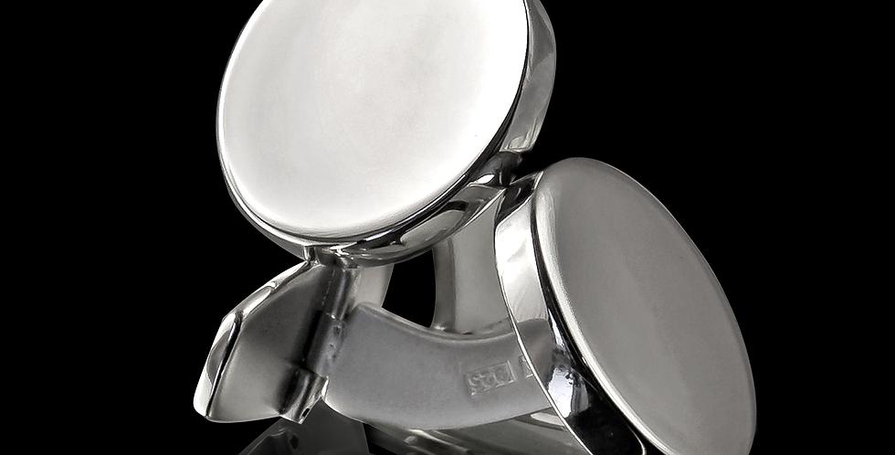 Manschettknappar Sandvik, rund form blankt silver (utan gravyr)