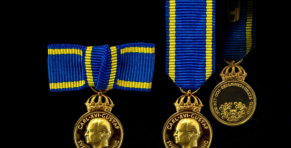 Miniatyrmedalj NOR förgyllt silver - För nit och redlighet i rikets tjänst