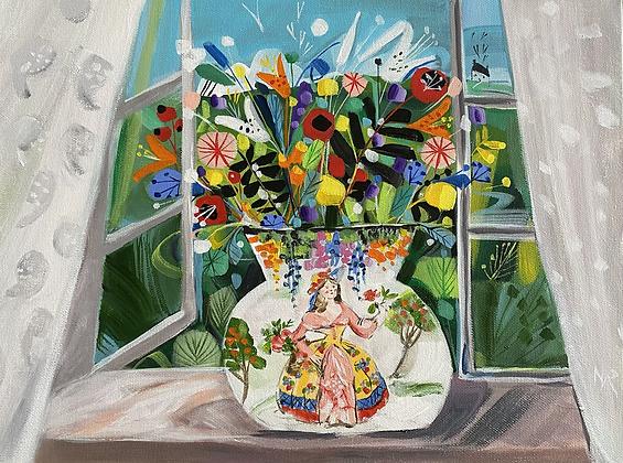 Crinoline Lady Vase And Flowers