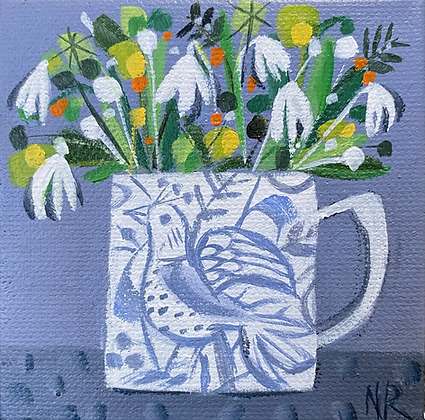 Birdy Mug And Snowdrops