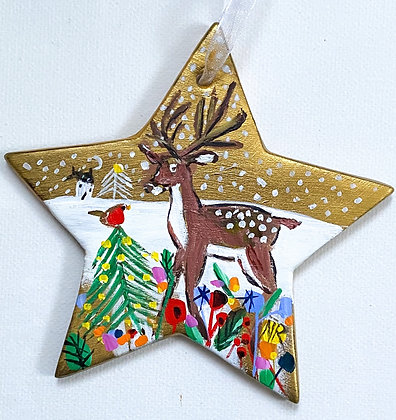 Gold Star Reindeer And Robin