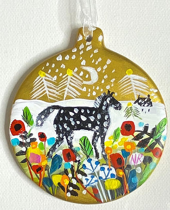 Gold Bauble Winter Horse