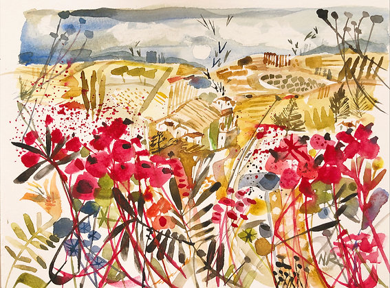 Sold Sea of Poppies A4 Watercolour