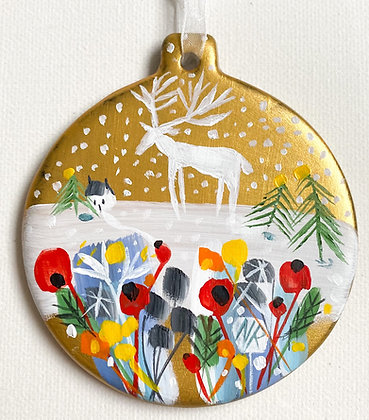 Gold Bauble White Stag