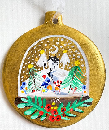 Gold Bauble Snow Globe
