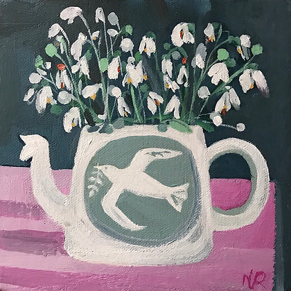 SOLD Snowdrops Painting on box canvas