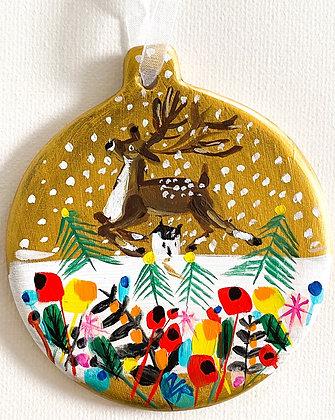 Gold Bauble Reindeer