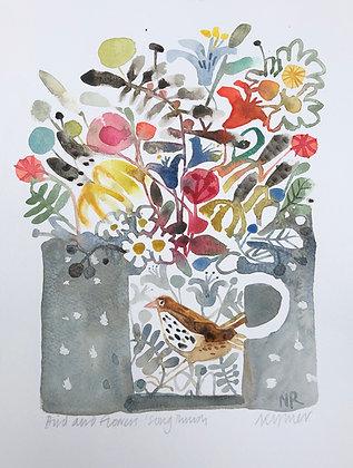 Bird And Flowers Song Thrush