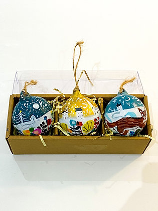 Winter Handpainted Ceramic Baubles Set