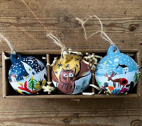 Set Of Three Handpainted Ceramic Baubles Winter  Owl