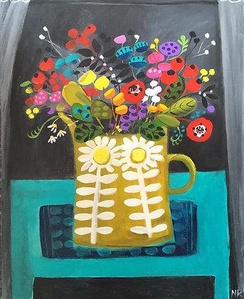 SOLD Daisy Jug & Flowers