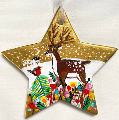 Gold Star Reindeer And Robin 2