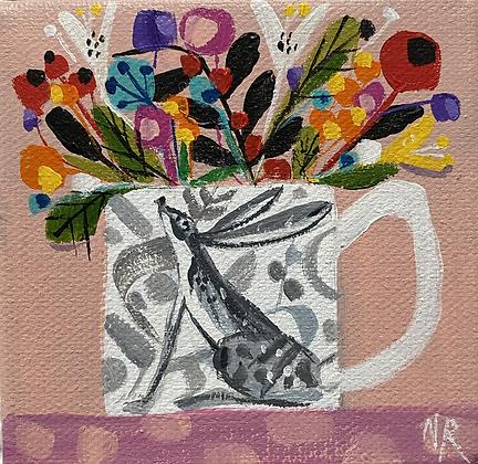 Hare Mug And Flowers