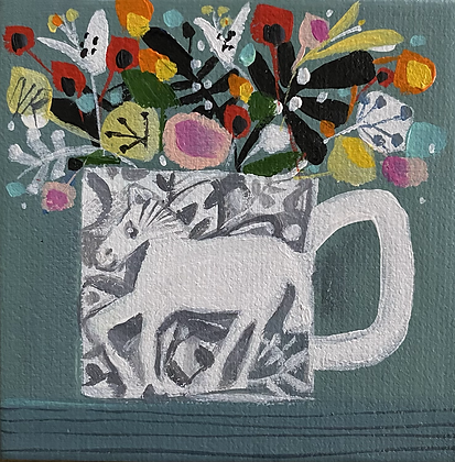 White Horse Mug And Posy