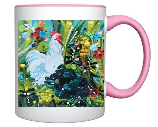 Cockerels And Flowers Mug