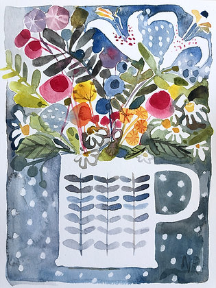summer Flowers and Mug A4Watercolour Posted after 22nd July
