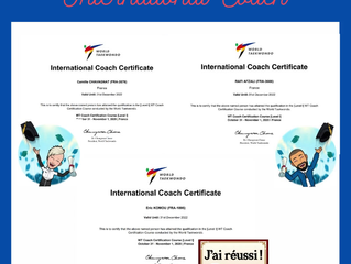 Rafi, Kems et Camille coachs internationaux Level 1