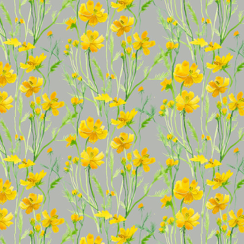 Yellow Field Flowers in Gray