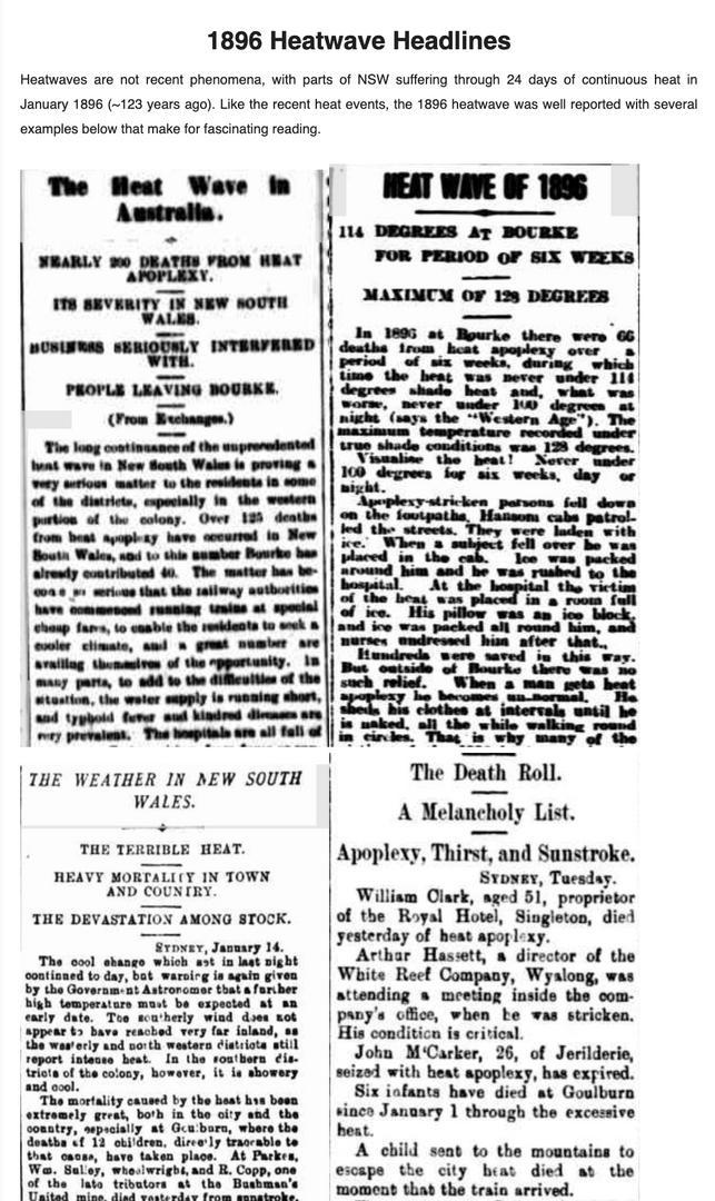 1896 Heatwave Headlines Heat Stress e-Bulletin
