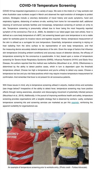 COVID-19 Temperature Screening Heat Stress e-Bulletin