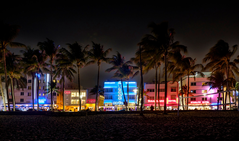 Ocean Drive by night South Beach, Florida