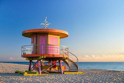 Pink lifeguard stand, South Beach, Miami, Florida