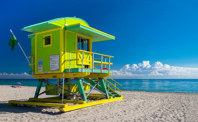 6th Street lifeguard stand South Beach. South Beach, Miami, Florida