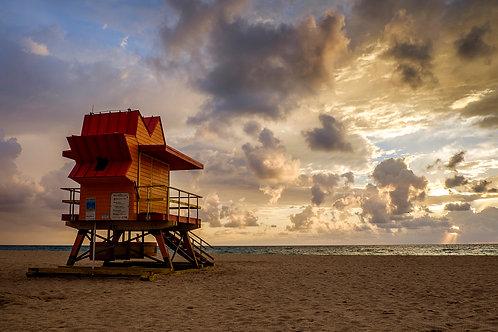 Lifeguard stand at dawn, South Beach, Miami, Florida
