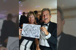 couple caricature at wedding