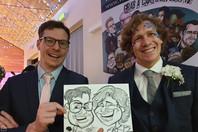 2 guys caricature at wedding