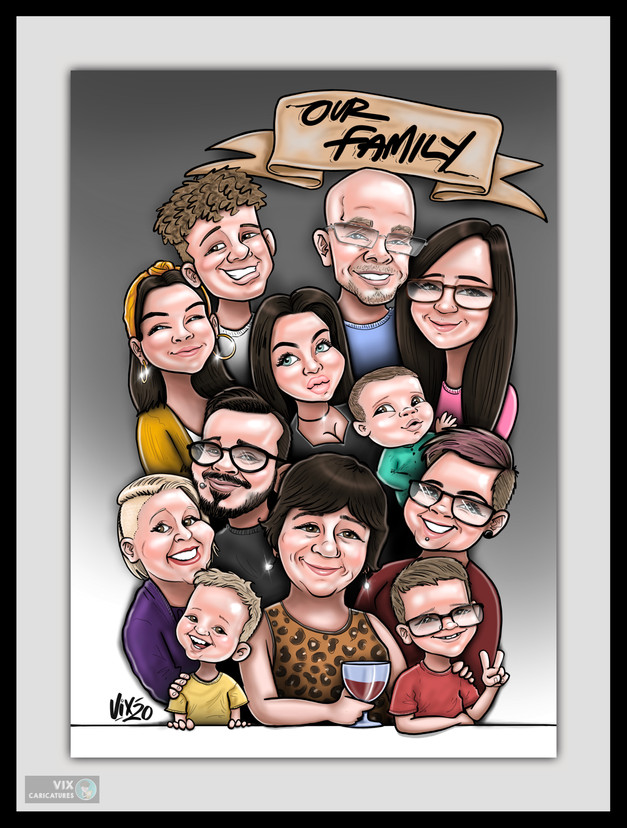 Colour Caricature gift from photos 7 fam