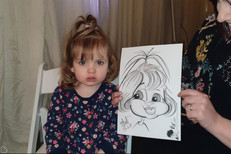 little girl caricature at wedding